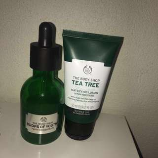 """The Body Shop """"Drops of youth"""" and """"tea tree mattifying lotion"""""""