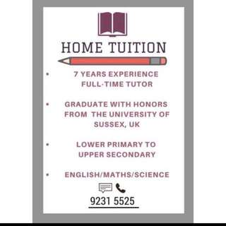 One to one Home Tutor.