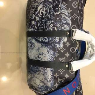 LV Duffle Keepall Bandouliere Savane Monogram Lion Motif 45 Midnight/ Multicolor