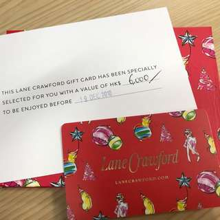 連卡佛 Lane Crawford Gift card (價值$6,000)