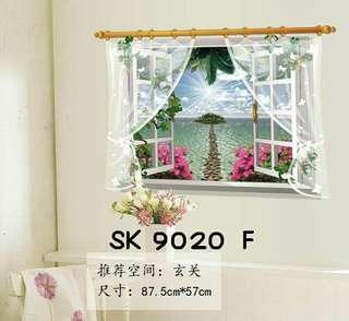 Wall Sticker Uk. 60x90 cm Motif Vivid Pink Flowers