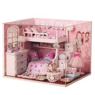 GIFTIDEA Dollhouse Miniature DIY Kit with Cover and LED Wood Toy Doll House Room Model Handcraft  Gift Angel Dream