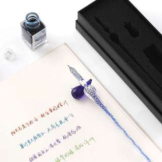 Creative hand - made glass pen with water pen set gift