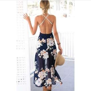 Vneck Xlace Long Beach Dress
