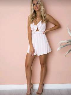 Brand New pink white striped playsuit romper