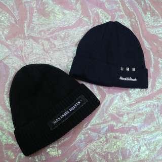 內刷毛簡約英文造型中性毛帽