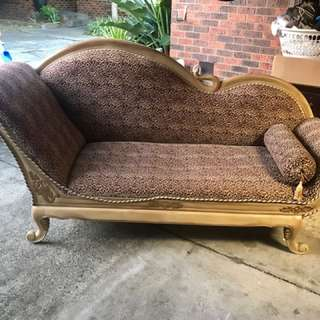 Large leopard print chaise