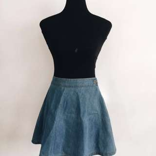 Pois Denim A-Line Skirt