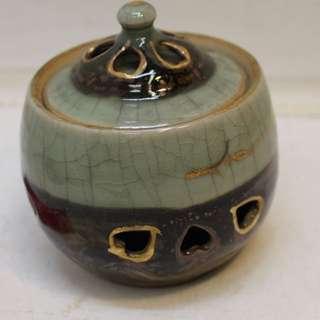 相馬燒 冰裂青瓷 金彩2重構造 蓋罐
