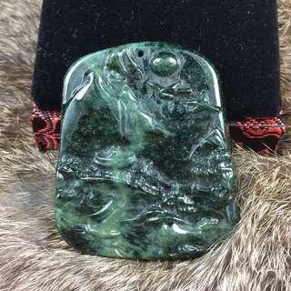 Type A Burmese Jade Jadeite Shan Shui - 47.48g 4.7 By 5.5 By 0.8cm