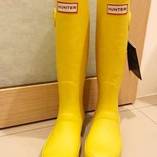 Hunter 檸檬黃長筒雨靴