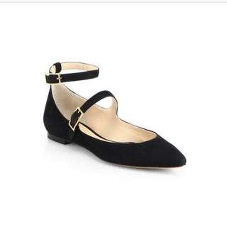 Chloe black suede double straps Mary Jane ballet flats 綁帶平底鞋
