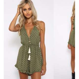 Green Print Playsuit New With Tags