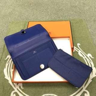 Hermes Dogon Duo Togo Wallet in Electric Blue (Bleu Electrique) Vintage 愛馬仕電光藍銀包連散紙包/護照證件包
