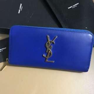ysl blue long wallet
