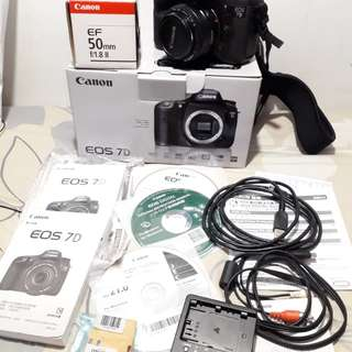 canon eos 7D + lens ef 50 f/1.8 ll