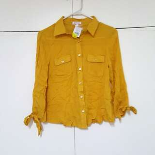 Golden yellow flowy polo