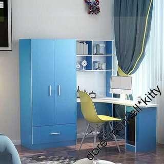 藍 粉紅 書桌 衣櫃 轉角 書桌 轉角 電腦桌 電腦枱 組合 櫃 桌 161223-3 180116