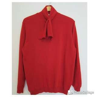 正紅色小領結針織衫