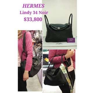 85% New HERMES Lindy 34 Noir Leather Handbag with Silver Hardware 黑色 銀扣 肩背袋 手提袋 手袋