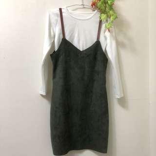 麂皮墨綠洋裝(整套)