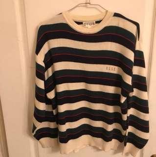 ELLE綠藍條紋針織衫