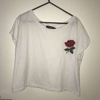 Valley girl rose embroided cropped top