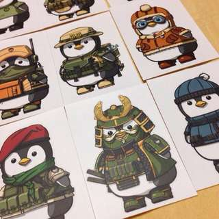 Military Penguins Stickers