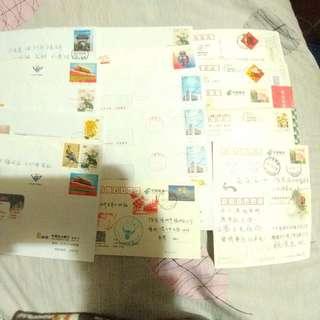 中國郵資封咭實寄一堆
