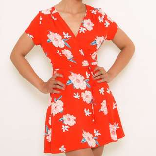 Red floral dress Size 8