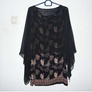 Batik Dress with Inner Chiffon