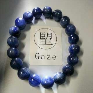 純天然高質寶石貓眼藍晶手鏈 10.5mm