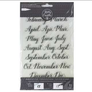 monthly calender clear stamps