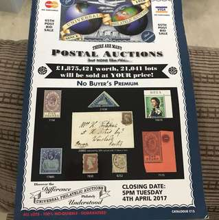 Stamp Auction Booklet (UK-April 2017) full details on stamps and their value.
