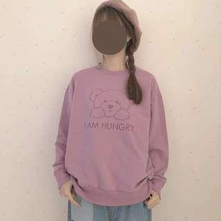 粉紫色小熊棉質上衣 大學T 古著 古着