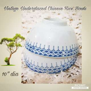 1940s Underglazed Blue Dotted Pattern Chinese Rice Bowl. 9.5cm dia, just one smaller than normal. Good Condition, no chip no crack no stain. 2pcs for $10 offer. Sms 96337309 for fast deal.