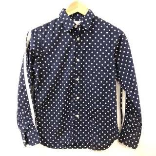 Comme des garçons blue with white dots shirt size M