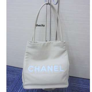 AUTHENTIC CHANEL LARGE LAMBSKIN LEATHER TOTE BAG