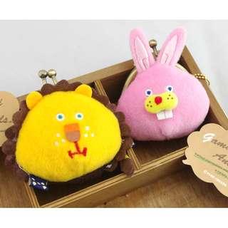 這裡 Zhè lǐ 日本帶回超可愛零錢包,有獅子兔子可選,扣珠包/喀喀包