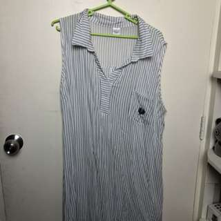 Plus Size Collared Stripe Dress