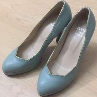 馬卡龍綠高跟鞋鞋春夏款
