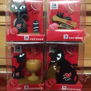 🚚 貓咪造型膠台、筆筒、釘書機、MEMO夾