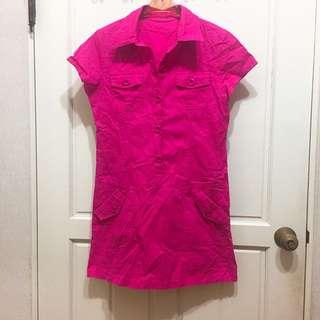 全新! 長版 桃紅 短袖 襯衫 洋裝 口袋 立挺材質