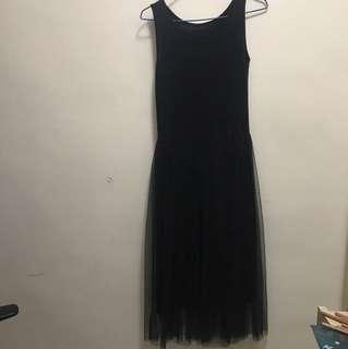 [包郵]黑色雪紗打底裙