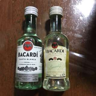 Miniature Bacardi old & new bottles