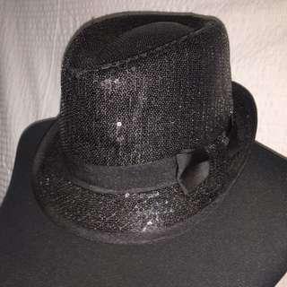 Claires Black Sequined Fedora Hat