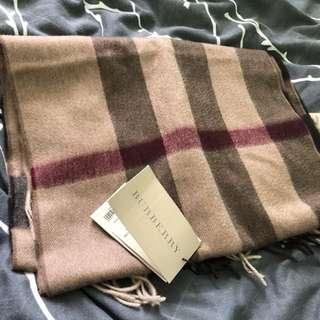 BURBERRY啡色格紋頸巾 - 100% real & new