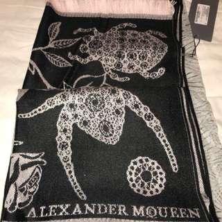 Alexander Mcqueen 頸巾 圍巾 黑 粉 色