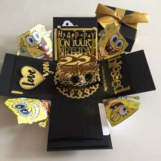 Spongebob Explosion Box With Cake, 4 waterfall in black & gold