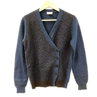 Dries Van Noten navy with brown knitted cardigan size L